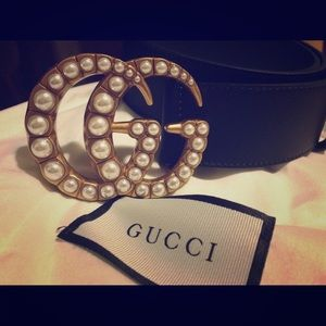 1.5 In Wide Pearl Gucci Belt Size 85cm